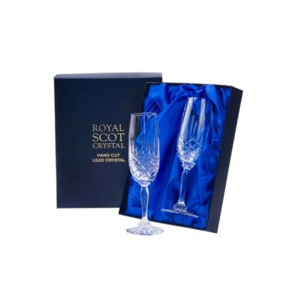 Picture Royal Scot Crystal Champagne Flutes London 2 p.
