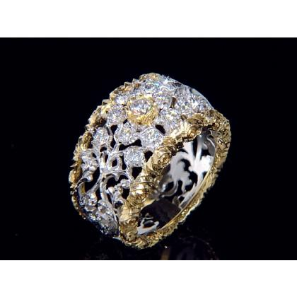 Picture Gold ring - Pellini flowers and diamonds