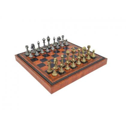 Picture Ornamental chess set – board covered with eco leather 70M+209L
