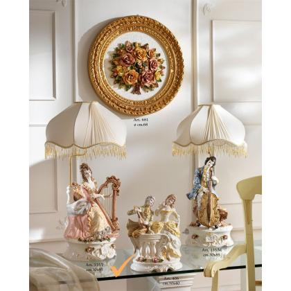 Picture Lamp for interiors with a porcelain woman