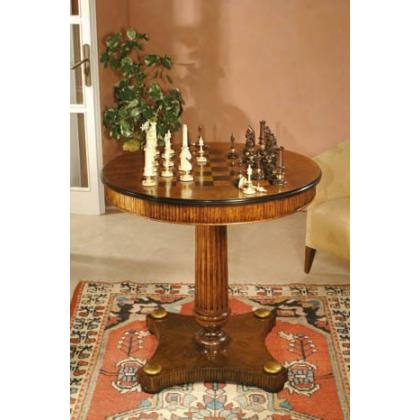 Picture Luxurious wooden chess table complete with chess pieces