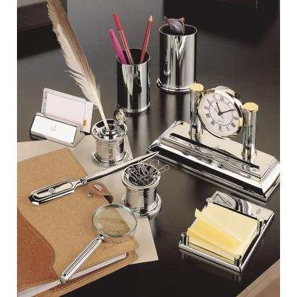 Picture Chrome plated set of elegant desk accessories