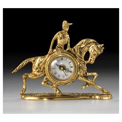 Picture Fascinating bronze clock with a jockey on a horse