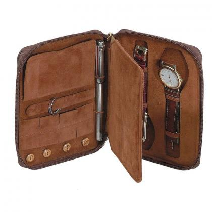 Picture Leather case for two watches with pen holder - Absolute Breton