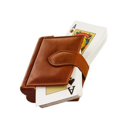 Picture A set of two decks of cards in a leather case - Absolute Breton