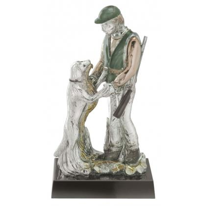 Picture Statuette of a hunter with a dog - Astra Argenti