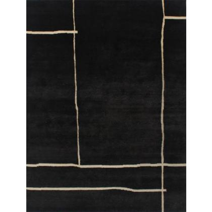 Picture Black carpet of wool and viscose with bright lines