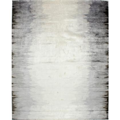 Picture Grey carpet made of wool, silk and linen - darkening towards the long sides
