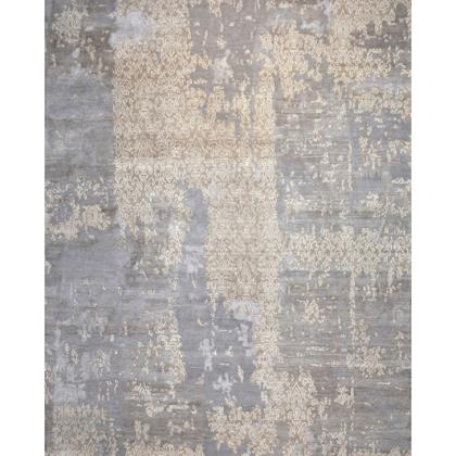 Picture Grey carpet with a gold pattern and rugged look - Forme