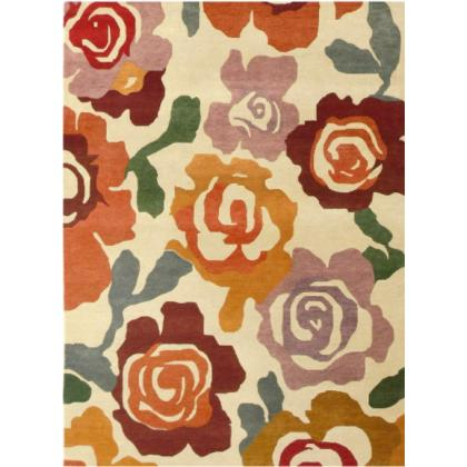 Picture Floral coloured carpet made of wool and viscose
