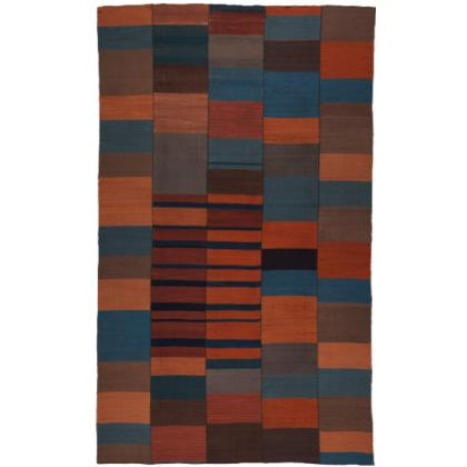 Picture Beige-black, brown and mosaic striped kilim - flatweaves