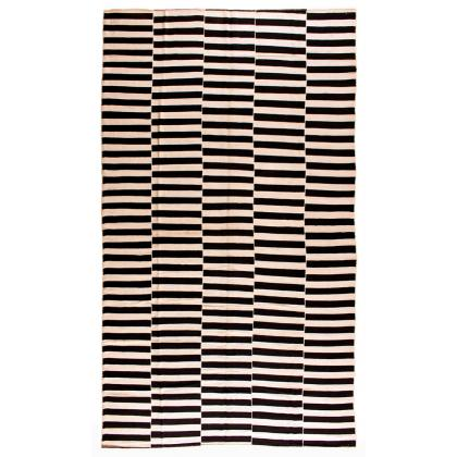 Picture Woollen kilim with black and beige stripes, arranged in several columns