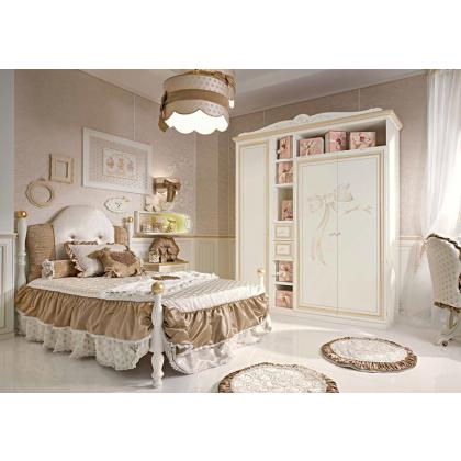 Picture Luxurious bed, locker chair, and stylish wardrobe for girls